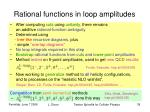 rational functions in loop amplitudes