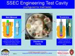 ssec engineering test cavity configured for melt tests