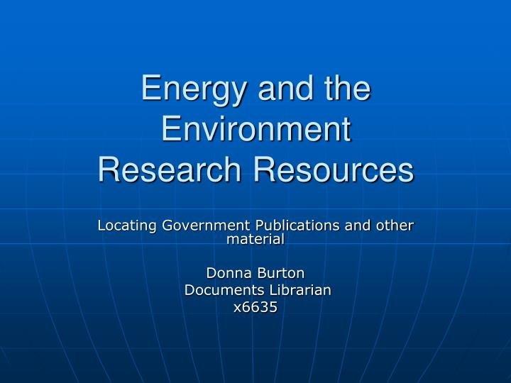 energy and the environment research resources n.