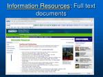 information resources full text documents