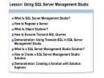 lesson using sql server management studio