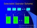 selectable operator scheme