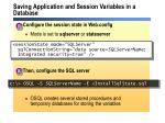 saving application and session variables in a database