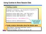 using cookies to store session data