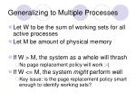 generalizing to multiple processes