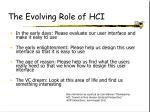 the evolving role of hci