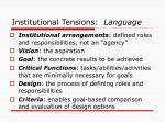 institutional tensions language
