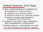 political tensions first steps