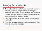 role s for academia