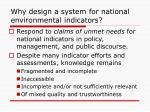 why design a system for national environmental indicators