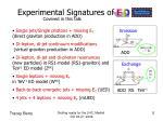 experimental signatures of