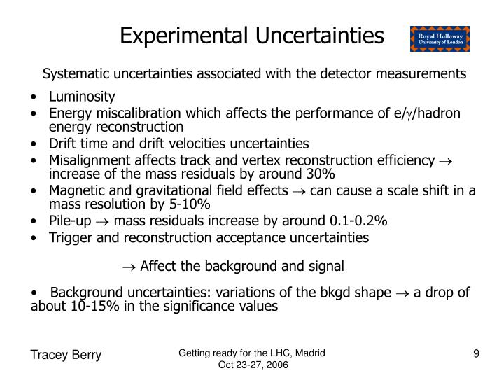 Experimental Uncertainties