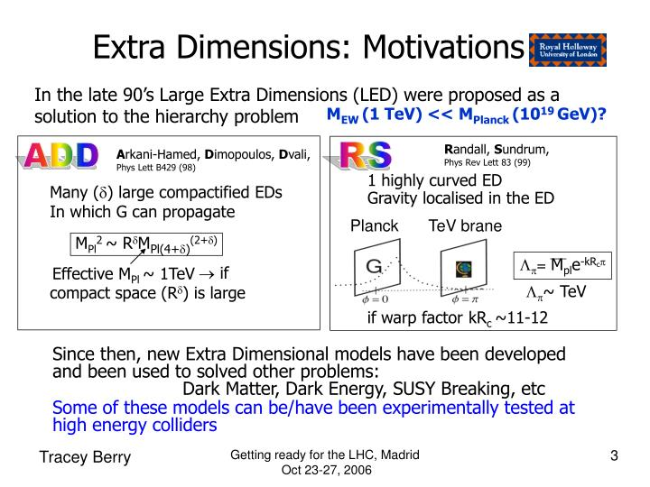 Extra dimensions motivations