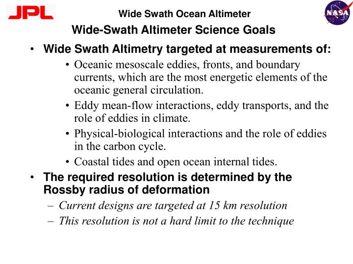 wide swath altimeter science goals n.