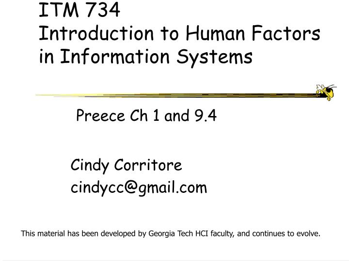 itm 734 introduction to human factors in information systems n.