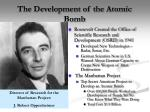 the development of the atomic bomb