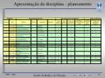 apresenta o da disciplina planeamento