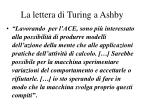 la lettera di turing a ashby