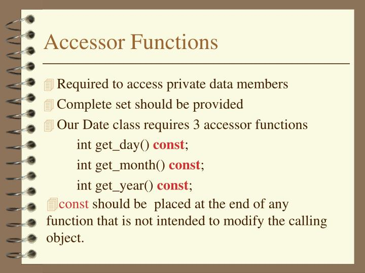 Accessor Functions