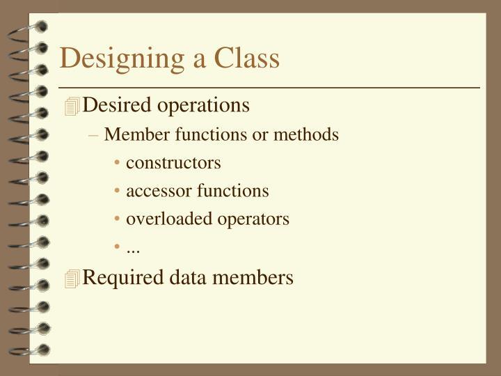 Designing a class