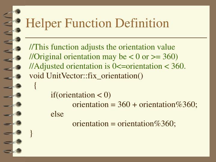 Helper Function Definition