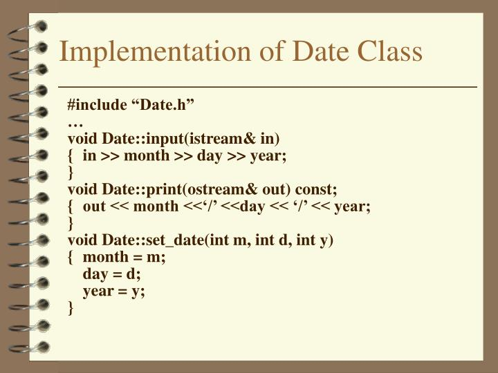 Implementation of Date Class