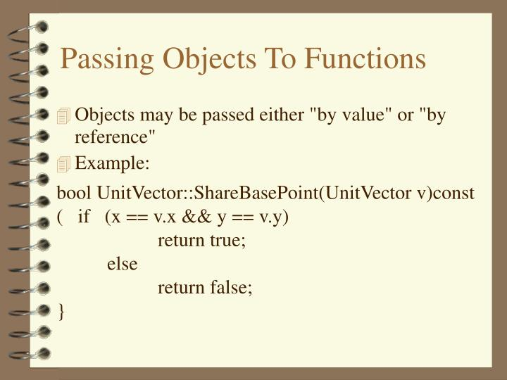 Passing Objects To Functions