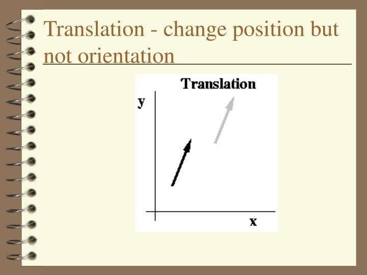 Translation - change position but not orientation