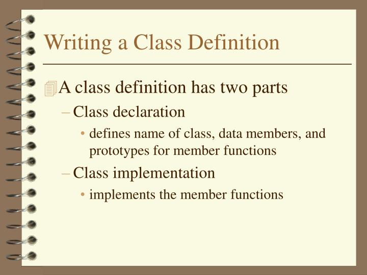 Writing a Class Definition