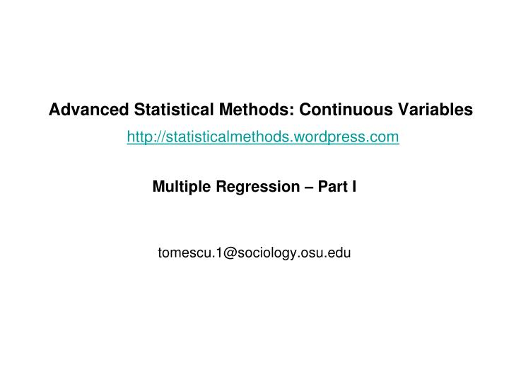 advanced statistical methods continuous variables http statisticalmethods wordpress com n.