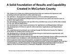 a solid foundation of results and capability created in mccurtain county