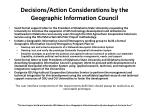 decisions action considerations by the geographic information council