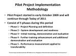 pilot project implementation methodology