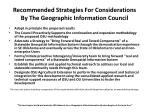 recommended strategies for considerations by the geographic information council