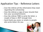 application tips reference letters