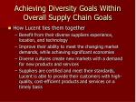 achieving diversity goals within overall supply chain goals1