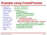 example using createprocess