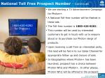 national toll free prospect number continues