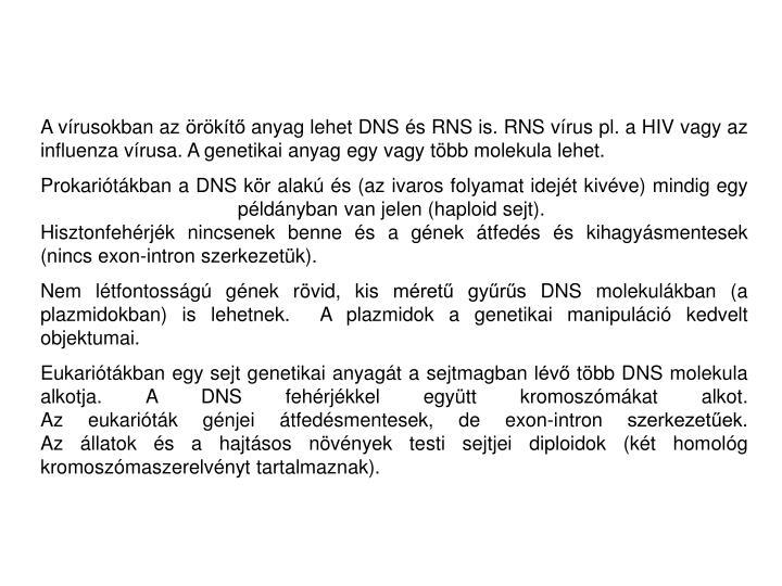 A vírusokban az örökítő anyag lehet DNS és RNS is. RNS vírus pl. a HIV vagy az influenza vírusa. A genetikai anyag egy vagy több molekula lehet.
