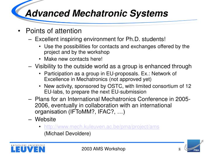 Advanced Mechatronic Systems