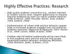 highly effective practices research