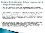 indistar indicators for school improvement required indicators