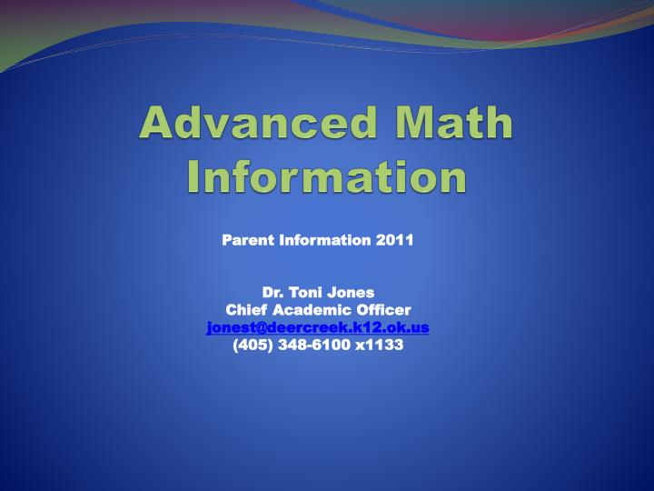 advanced math information n.
