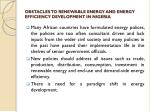 obstacles to renewable energy and energy efficiency development in nigeria