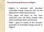 renewable energy resources in nigeria