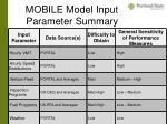 mobile model input parameter summary