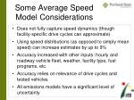 some average speed model considerations