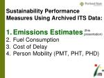 sustainability performance measures using archived its data