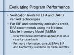 evaluating program performance