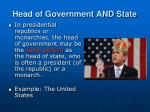 head of government and state